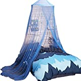 Uarter Bed Canopy Mosquito Net for Kids Bed Conical Curtains Kids Play Tent with Stars for Boys and Girls, Installation-Free, Blue/White (Blue)