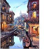 fahut Pintura Digital DIY para Adultos Y Niños Pintar por Kits Numéricos Vista Nocturna De Venecia Alojamiento De Cumpleaños Decoración Navideña Regalos 40X50Cm con Marco