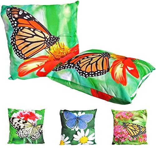 JACK Outdoor Lounge Kissen 45x45cm Motiv Dekokissen Schmetterling Wasserfest Sitzkissen Garten Stuhl Schmetterlinge, Farbe:Orange