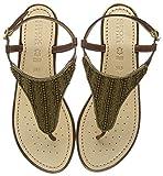 Geox D Sandal Hiver A, Sandalias con Punta Abierta para Mujer, Marrón (Cognac C6001), 35 EU