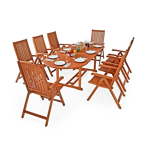 Deuba Sitzgruppe Moreno 8+1 FSC®-zertifiziertes Eukalyptusholz klappbar 9-TLG Tisch Sitzgarnitur Holz Gartenmöbel Garten…