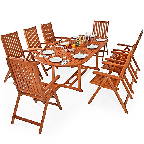 Deuba Wooden Garden Furniture Set FSC-Certified Eucalyptus Wood 8 Seater Dining Table and Chairs Set Moreno