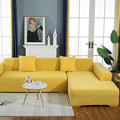 B/H Muebles Elegante Sofa Cubre,Funda de sofá de Felpa de Color Puro, Funda de sofá Simple elástica-Amarillo C_145-185cm,Fundas de sofá de Esquina