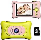 1080p fotocamere digitali per bambini con scheda sd 32 gb, mini macchina fotografica bambini portatile telecamera per bambini mini fotocamera videocamera bambini, regalo di compleanno natale show