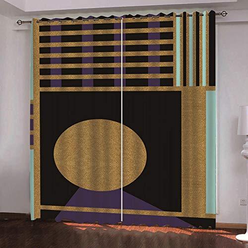 QDDRL gordijnen voor ramen, woonkamer, ondoorzichtig, ondoorzichtig, geïsoleerd, waterdicht, met oogjes voor de slaapkamer, 2 panelen, artistiek met bruine strepen.