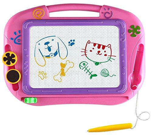 EEDAN Lavagna Tavola da Disegno Magnetica Scarabocchio Giochi per Bambini Blocco per Scrivere Schizzi Regalo per Bambine Bambini Ragazzi Formato Viaggio(Pink)