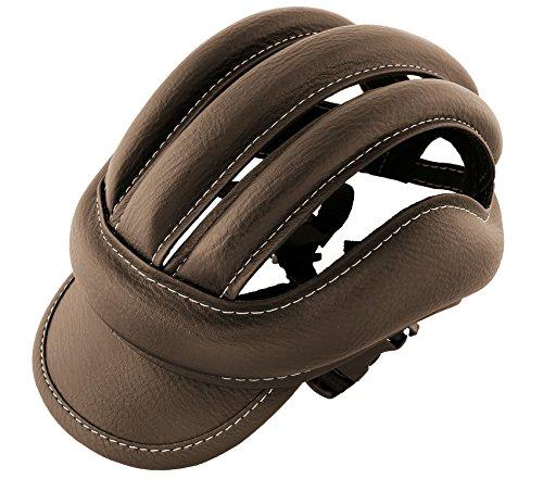 Casco da ciclismo in pelle, colore: marrone, stile vintage retrò, Taglia standard adulto 3486