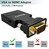 FOINNEX VGA a HDMI Adaptador/Convertidor con Audio (Conversor de PC Antigua a TV/Monitor con HDMI) Activo Hacer Macho VGA to HDMI Hembra Conector HD 1080P Video y Sonido para Computer,Laptop,Projector