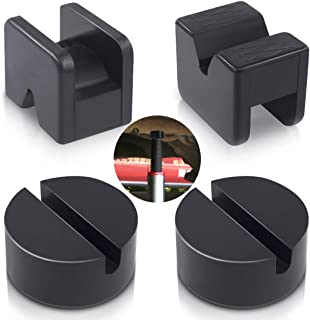 Swpeet 4 Pack 2 Types Sparta Floor Jack Pad Adapter for Jack Stand 2-4 ton Universal Rubber Sparta Floor Slotted Frame Rai...