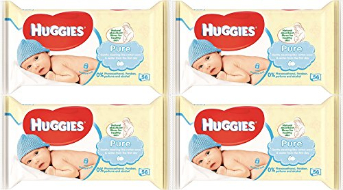 Huggies Pure Baby Wipes 56 Count (Pack of 4) 224 Wipes Total