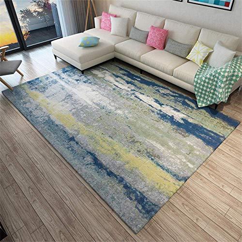 WKITCHENMAT Teppiche Moderner Wohnzimmer Shaggy, Hochflor Teppich, Soft Pflegeleicht Teppich 7mm Dick Grünes gelbes blaues abstraktes Tintenmuster Teppich 2x3m