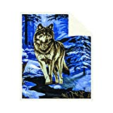 Fleece Sherpa Receiving Baby Blanket - Boys Girls Thick Soft Poly Double Layer Plush Minky Comfy Blankets for Infants Toddlers & Pets with Printed Blue Wolf Imagery Throws Size 30' X 42'
