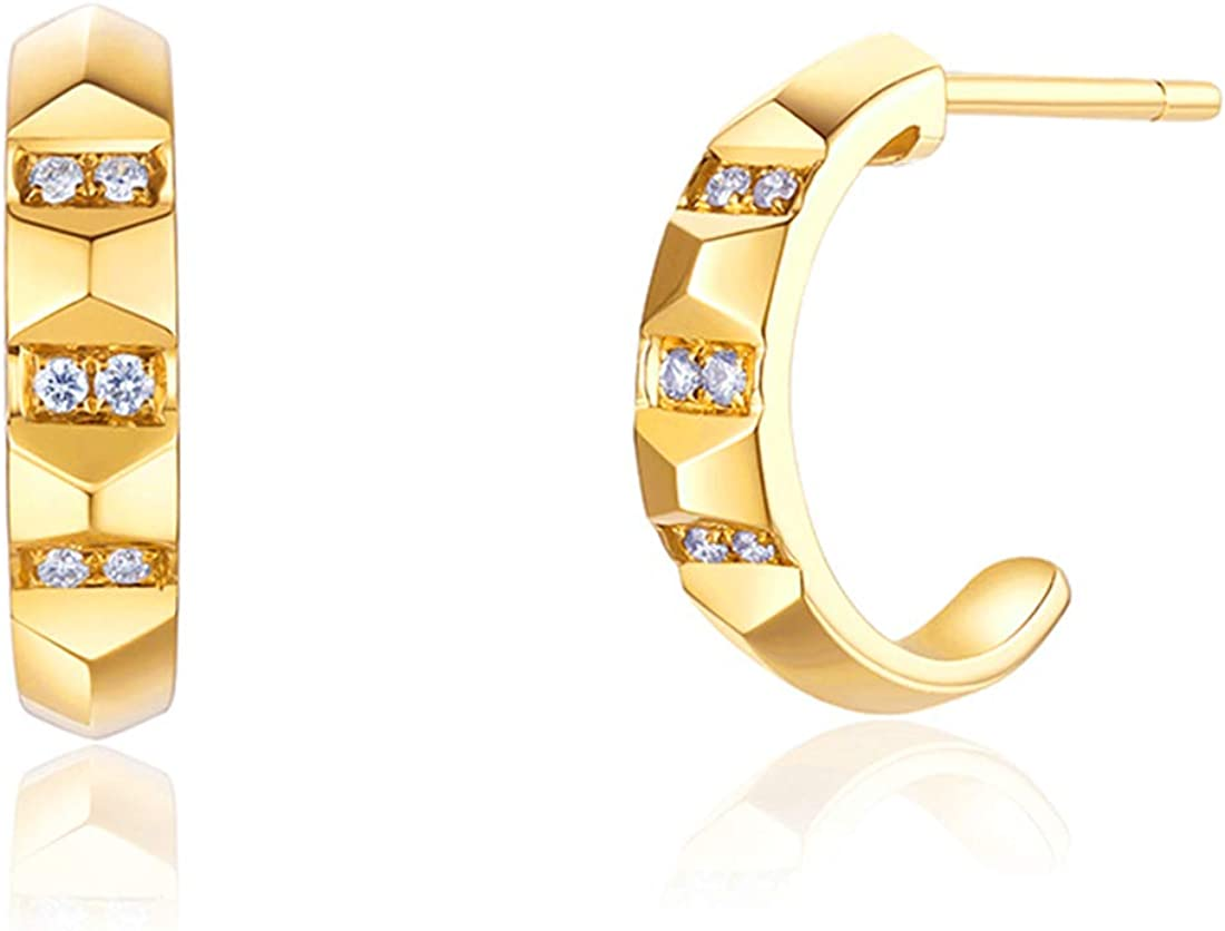 FANCIME Solid 14K Real Yellow Gold Diamond 0.06 CTTW Small Cut Unique Open Half Cuff Hoop Earrings Dainty Delicate Everyday Fine Jewelry For Women Girls Diameter 15mm