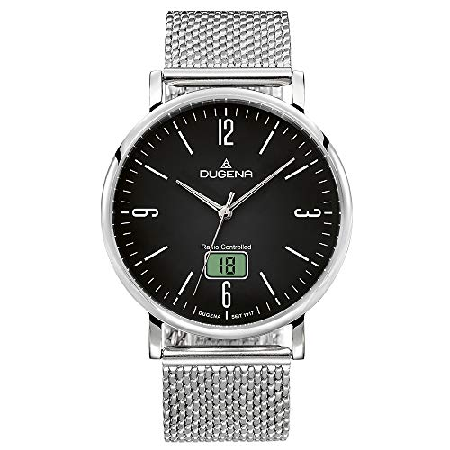 Dugena Herren Funk-Armbanduhr, Saphirglas, Milanaise-Armband, Mondo Funk, Silber/Schwarz, 4460846