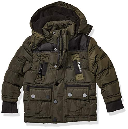 Rocawear Boys' Toddler Outerwear Jacket, Classic Puffer Dark Olive/Black, 2T