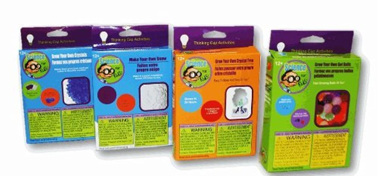 Thinking Cap Activities ~ Science For Kids Ages 12+ - Set of 4 Science Projects (Grow Crystals, Make Snow, Grow Crystal Tree & Grow Gell Balls)