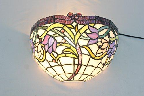 Broncos 12 pouces Vintage Pastoral Vitrail Tiffany Purple Flower Applique Couloir Applique murale Lampe Mobilier