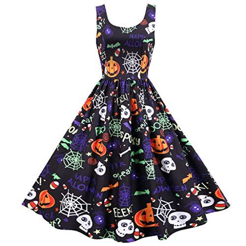 ReooLy Vestido de Fiesta de Fiesta con Cuello en v sin Mangas Retro con Estampado de Halloween para Mujer(E-Multicolor,L)