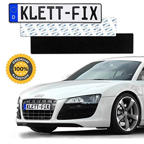 1 x Klett-Fix® Auto und Motorrad Kennzeichenhalter rahmenlos - Nummernschildhalterung KFZ - unsichtbarer Nummernschildhalter - Nummernschildhalter