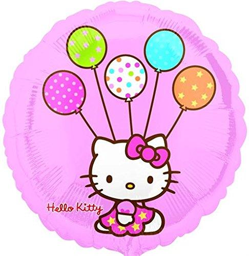 Folienballon Hello Kitty mit Luftballons rund rosa ca. 45cm ungefüllt (Ballongas geeignet)