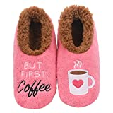 Snoozies Womens Pairables - Funny Slippers for Women - Womens Slippers - House Slippers - But First Coffee - Large