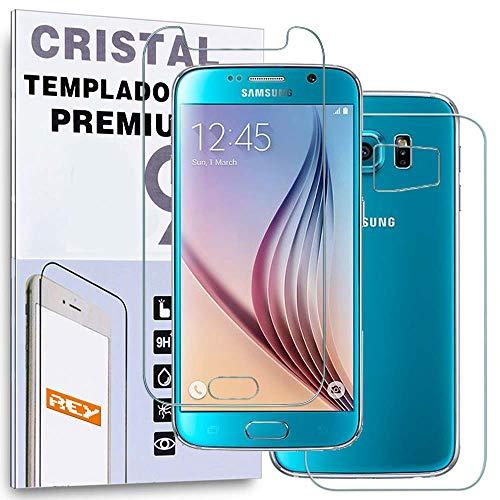 REY Protector de Pantalla Delantero + Trasero para Samsung Galaxy S6, Cristal...