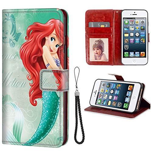 DISNEY COLLECTION Wallet Phone Case iPhone 5C Disney Princess Ariel Hd Premium PU Leather Cash Card Slots Wrist Strap Lanyard Design Good Looking