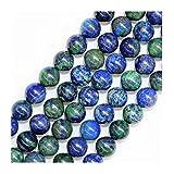 Neerupam Collection Perle in Pietra Naturale azzurrite per gioielleria, Perline tonde, Perline da 10mm, Perline in Pietra preziosa per Collana con Bracciale, Perline sciolte