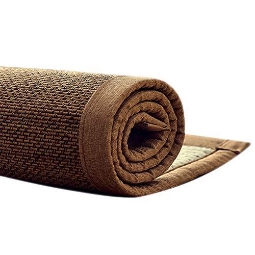JIAJUAN Bambú Fibra Natural Verano Enfriamiento Zona Alfombra Estilo Japones Espesar Ensanchar Borde Alfombras Piso Estera, 2 Estilos (Color : B-15MM, Size : 150x180cm)