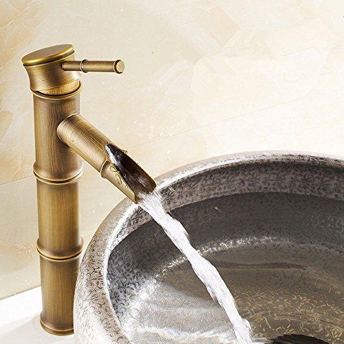 Grifo mezclador de lavabo de cobre antiguo, diseño de bambú