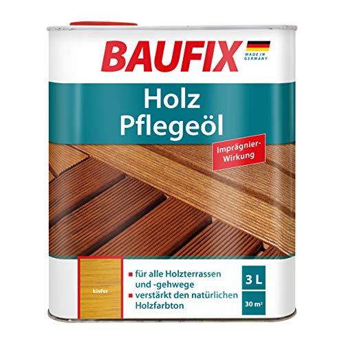 BAUFIX Holz-Pflegeöl, Holzöl kiefer, 3 Liter, geruchsmildes Holzöl für außen und innen mit Imprägnierwirkung, für Holzterassen, Gartenmöbel und Holzgehwege geeignet