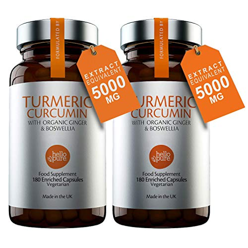 Vegan Turmeric 5000mg with Ginger & Boswellia (Superior to Black Pepper) – 180 Vegan Turmeric Capsules Max Strength (3 Month Supply) – Turmeric with Active Ingredient Curcumin (Pack of 2)