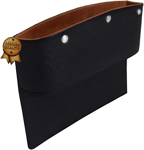UK Leather Creation 1 PC Original,Pure Leather Console Side Storage Organizer Seat Gap Filler Pockets Catch Caddy,Org...