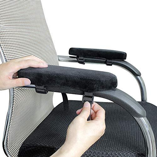 HANHAN 2 almohadillas de apoyabrazos para silla de oficina y silla de juegos, cojín de espuma viscoelástica de alta calidad, alivio del dolor, terciopelo suave y grueso, funda extraíble