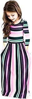 Miss Bei Girl`s Summer Short Sleeve Stripe Holiday Dress Maxi Dress with Pocket Size 0-11T,Long Sleeve has Arrived 3-15T!!