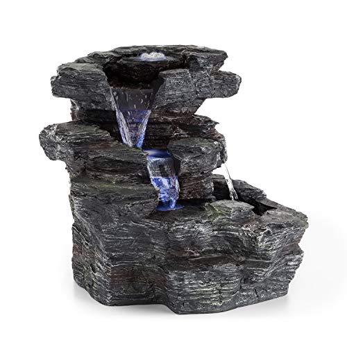 blumfeldt Rochester Falls - Gartenbrunnen, Springbrunnen, Standbrunnen, IPX8, 6 Watt, frostbeständiges Polyresin, Beleuchtung, 3 LEDs, Steinoptik, inkl. Abdeckung, 64 x 43 x 37cm, hellgrau