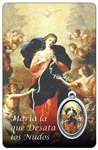 Ferrari & Arrighetti Estampa Virgen Desatanudos con Medalla y una oración en español - Medida 8,5 x 5,5 cm (Paquete de 6 Piezas)