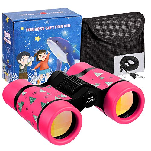 LTWQLing Toy Binoculars for Kids Best Gifts for 3-8 Years Boys Girls Rubber 4x30mm Children Binoculars for Bird Watching,Hiking,Birthday Presents for Kids,Travel,Camping(Pink)