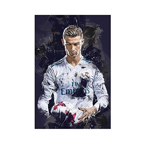 Póster deportivo de jugador de fútbol Cristiano Ronaldo con 3 lienzos para decoración de sala de estar, dormitorio, 40 x 60 cm