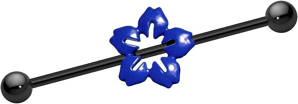 Body Candy Black Anodized Titanium Steel Blue Hawaiian Flower Industrial Barbell 14 Gauge 37mm