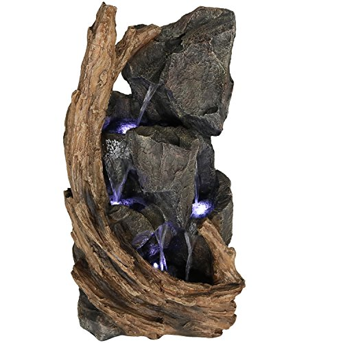 Sunnydaze Mountainside Rock Waterfall Fountain - Large Outdoor Water Fountain with LED Lights - 35 Inch Tall