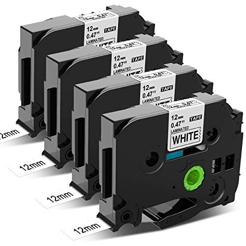 Nastro per Etichette MarkField Compatibile sostituzione di Brother P-touch TZ TZe-231 Nero su Bianco per Brother P touch PT-1000 PT-1010 1090 H105 H100LB/R H108 D200 2030VP, 12mm x 8m, 4Pack