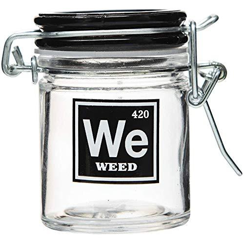Marijuana Pot Buds Stash Jar w/Clamping Lid In Choice Of Design (Weed, Small)