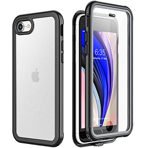Singdo iPhone SE 2020 Case iPhone 8 Case iPhone 7 Case,Matte Clear Full Body Built in Screen Protector Multi-Directional Bumper Heavy Duty Rugged Dropproof Cases for iPhone SE 2020/8/7 4.7 inch -Black