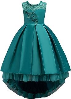 BestGift Children's Long Tail Lace Flower Beading Princess Dress Girl Performance Elegant Party Birthday Evening Lady Dresses