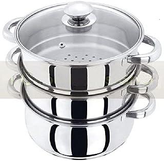 Lot de 3 cuiseurs vapeur en acier inoxydable avec couvercles en verre 22cm