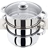 NEW 3PC STAINLESS STEEL STEAMER COOKER...