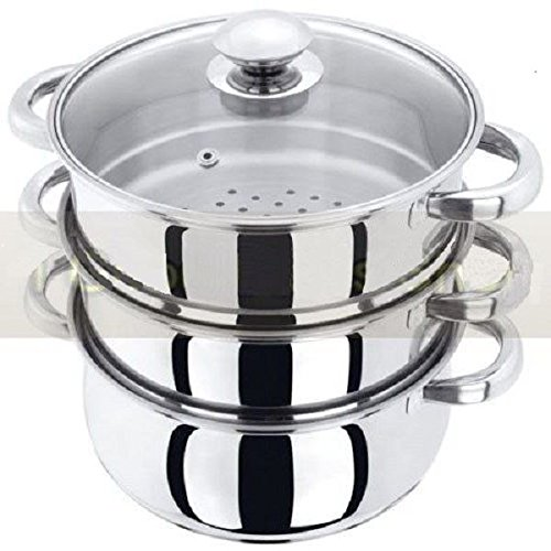 NEW 3PC STAINLESS STEEL STEAMER COOKER POT SET PAN COOK FOOD GLASS LIDS COOKWARE
