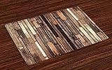 ABAKUHAUS De Madera Salvamantel Set de 4 Unidades, Estilo rústico Piso de Edad, Material Lavable Estampado Decoración de Mesa Cocina, marrón