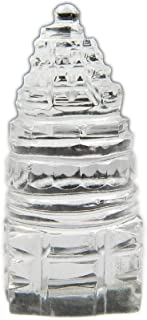 Myhealingworld Shree Yantra Crystal Natural Clear Quartz Handcrafted Small Sculpture Statue (Size 1.5 x 1.5 x 3.5 cm Approx)